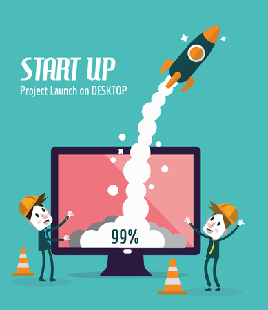 fly cartoon: Business people control rocket launching on desktop. Startup and Development concept. flat design elements. vector illustration