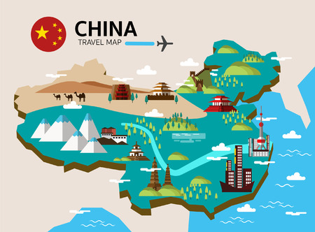 China landmark and travel map. Flat design elements and icons. vector illustration