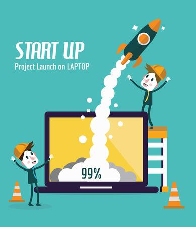 stabilizer: Business people control rocket launching on laptop. Startup and Development concept. flat design elements. vector illustration Illustration