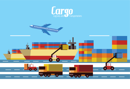 seaport: Cargo, Logistics and transportation. flat design elements. vector illustration Stock Photo
