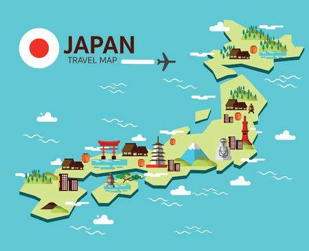 Japan landmark en reizen kaart. Platte design elementen en pictogrammen. vector illustratie Stockfoto - 46076878
