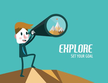 goals: Businessman with telescope finding Goal. flat design elements. vector illustration
