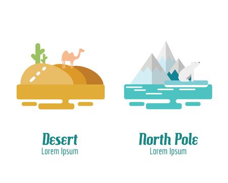 pole: Desert and North Pole landscape. flat design elements. vector illustration