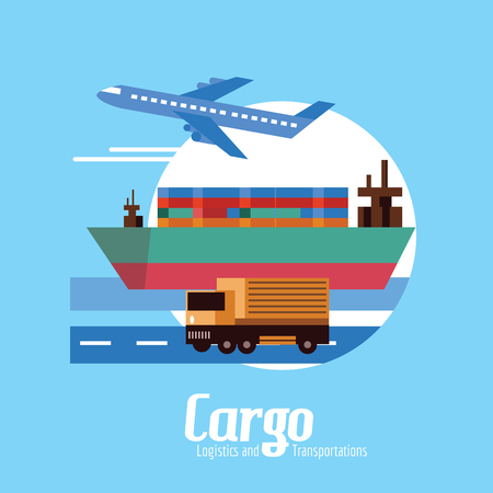 routes: Cargo, Logistics and transportation. flat design elements. vector illustration Stock Photo