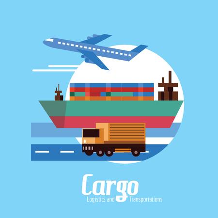 ciężarówka: Transport, logistyka i transport. płaskich elementów. ilustracji wektorowych