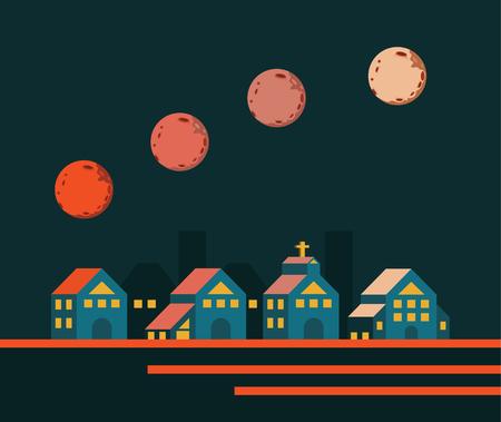 unesco: Super moon rising over the City. flat design elements. vector illustration