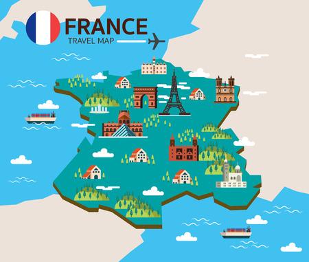 Frankrijk landmark en reizen kaart. Platte design elementen en pictogrammen. vector illustratie Stock Illustratie