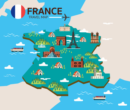 France landmark and travel map. Flat design elements and icons. vector illustration