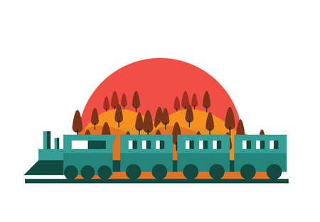 railway: Train, Railway. forest landscape with sunset . Vector flat illustration.