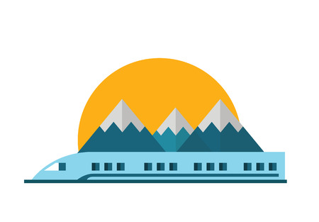 modern design: Train, Railway with mountain landscape. Vector flat illustration.