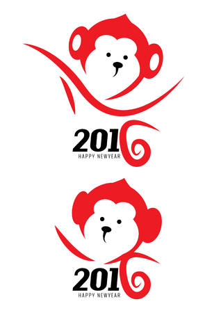 china art: The year of monkey. New year 2016. flat character, logo, icons. vector Illustration