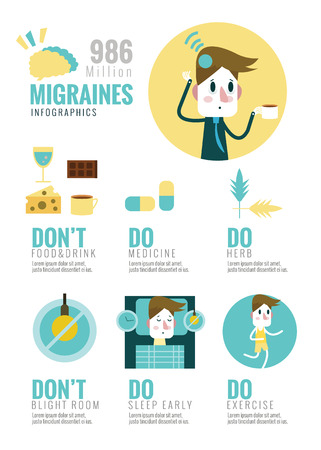headaches: Migraines Infographics. flat design elements. vector illustration Illustration