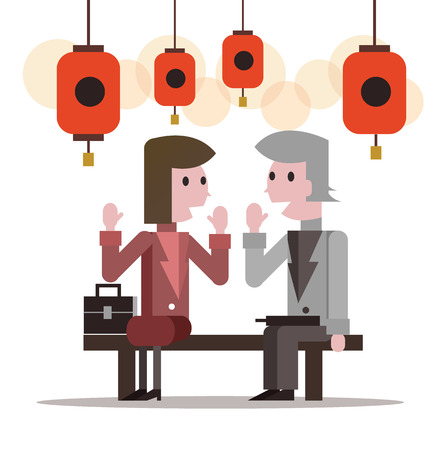 two people talking: Two business people talking at lantern festival. flat character design. vector illustration
