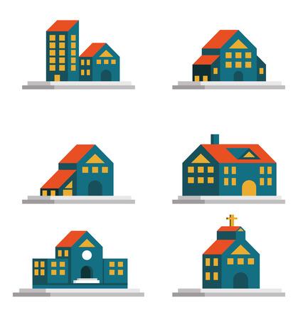 logo batiment: ic�nes Maisons fix�s. Immobilier et de l'architecture. plat �l�ment de design. vecteur