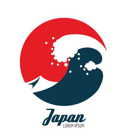 Ocean waves in red circle. Japanese icon design. flat elements. vector illustration