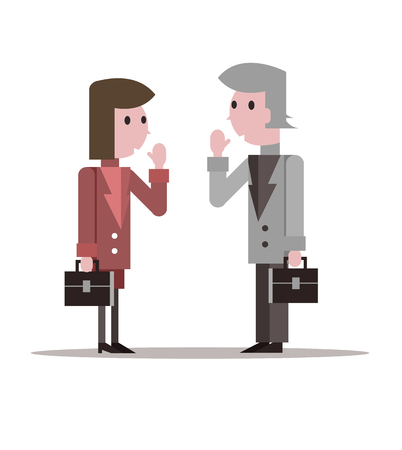 dos personas platicando: Dos hombres de negocios dicen hola. dise�o de personajes plana. ilustraci�n vectorial