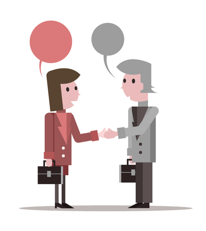 Two business people Shaking Hands and talking. flat character design. vector illustration