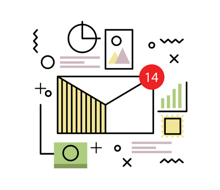 Email and big data concept. flat line illustration. vector