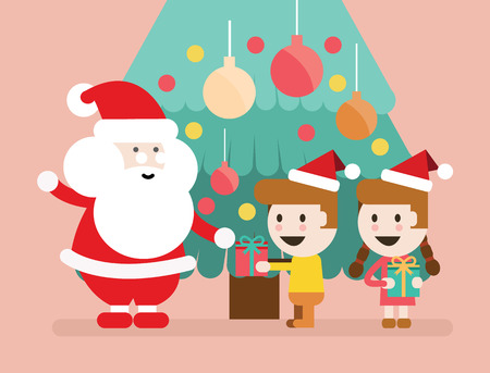 clothes cartoon: Santa Claus and children having a fun. Christmas background. flat character design. vector illustration