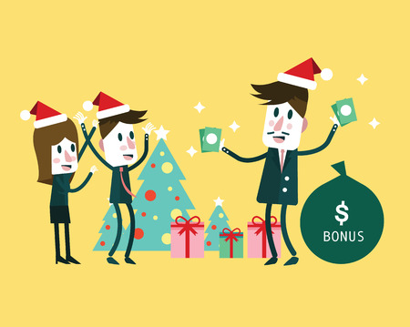 perks: Boss giving big bonus. Christmas and new  year concept. flat character design. vector illustration