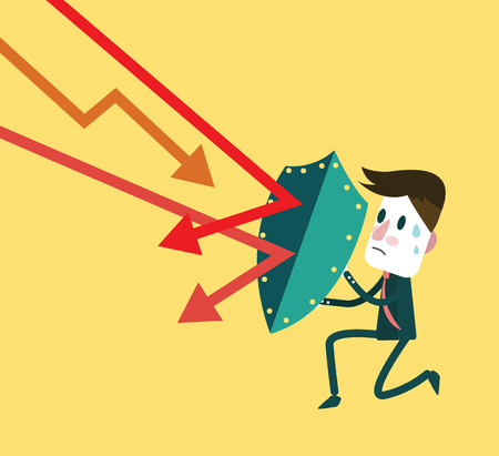 adversary: Stock market trading down to attack businessman. investment and financial concept.