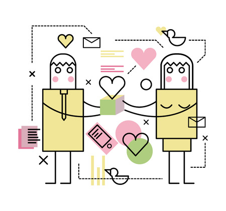 two people meeting: Man and woman with gift box. flat line illustration. vector Illustration