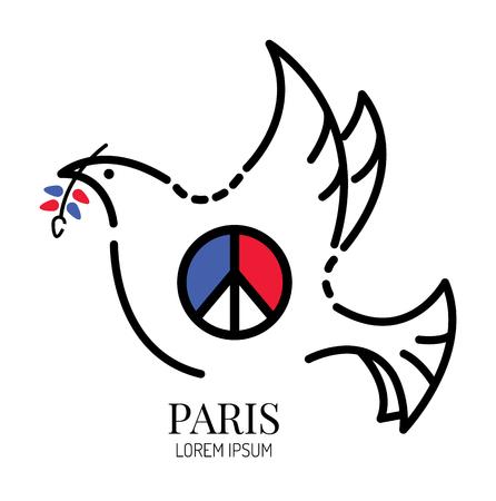 simbolo paz: Símbolo de paz de París con la paloma. línea de elemento de diseño plano. vector