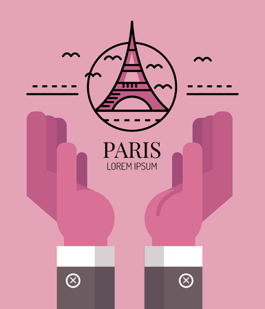 pray for: Pray for Paris. Hand with eiffel tower sign. line flat logo and icon design. vector illustration