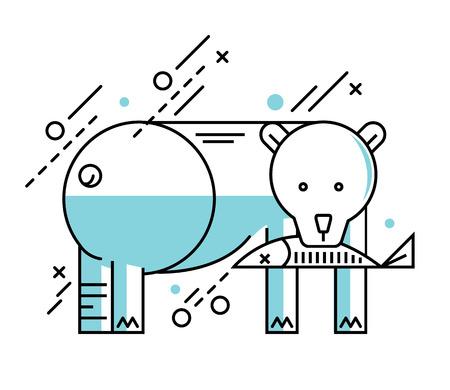 polar lights: Polar bear illustration on the white winter background. Mono flat line design. vector illustration