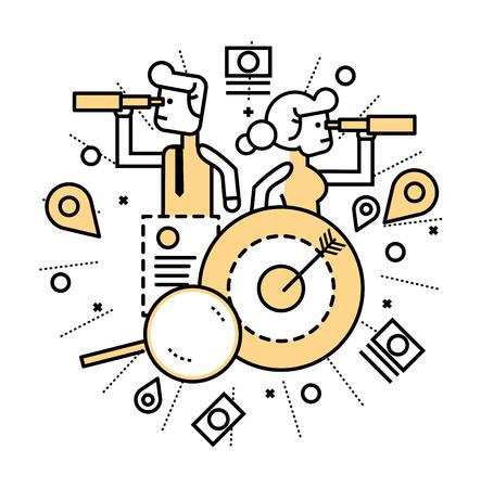 La gente de negocios con el telescopio de la búsqueda de oportunidades. concepto de negocios y las finanzas. El diseño plano de línea. ilustración vectorial
