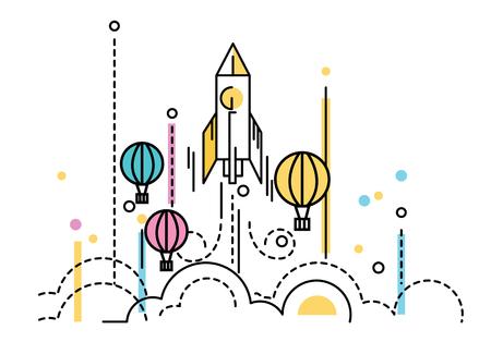 O lançamento de Rocket sobre os balões de ar quente. Conceito da competição do negócio. projeto da linha plana. ilustração vetorial