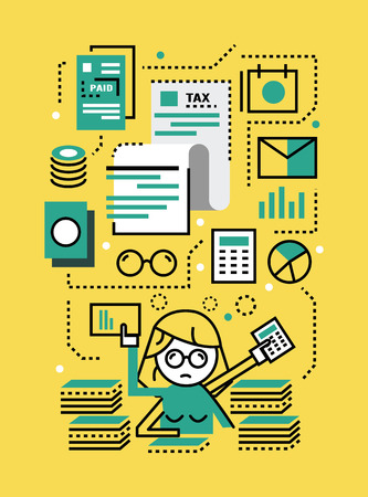 tax: Busy Business woman with Tax documents. Tax concept. flat line icons design. vector illustration