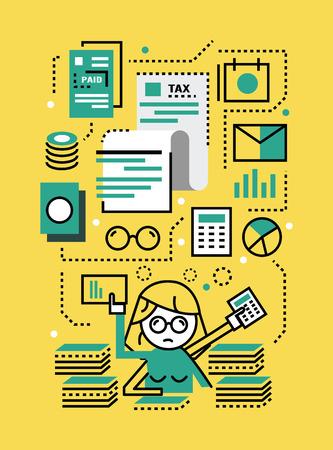 impuestos: Mujer de negocios ocupado con documentos fiscales. Concepto de impuestos. línea plana iconos del diseño. ilustración vectorial