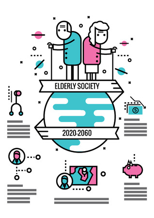 elderly people: Elderly Society info graphics and icons.flat thin line design elements. vector illustration