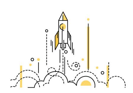 cohetes: Lanzamiento de cohete. creativa puesta en marcha. delgados elementos de diseño de línea plana. ilustración vectorial