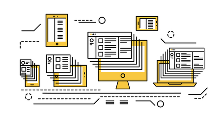 desktops: smart phone, tablet, laptop and desktop computer. Responsive web design and big data.  flat thin line design elements. vector illustration