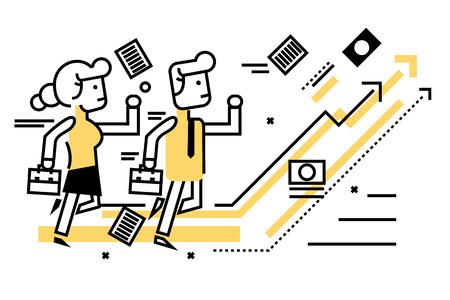 mujeres trabajando: La gente de negocios competitivos con las empresas en el gráfico de destino. delgados elementos de diseño de línea plana. ilustración vectorial