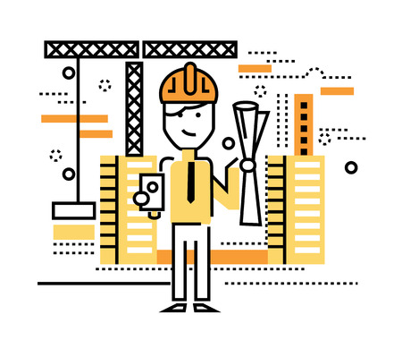 construction workers: Construction worker standing on building site. flat thin line design elements. vector illustration Illustration