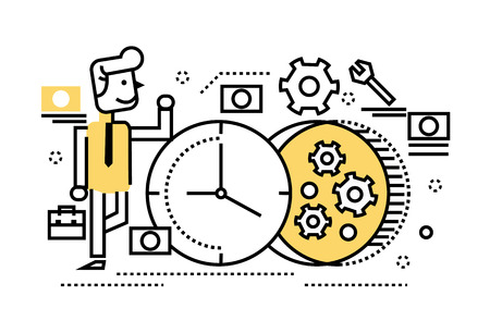 rebuild: businessman repair the clock, concept of time management, rebuild, busy. flat thin line design elements. vector illustration