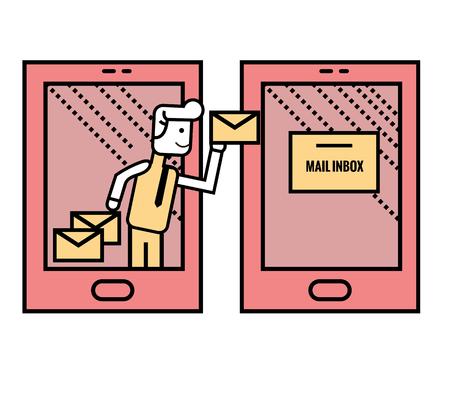 smart man: Man sending Emails from smart phone. flat line vector illustration