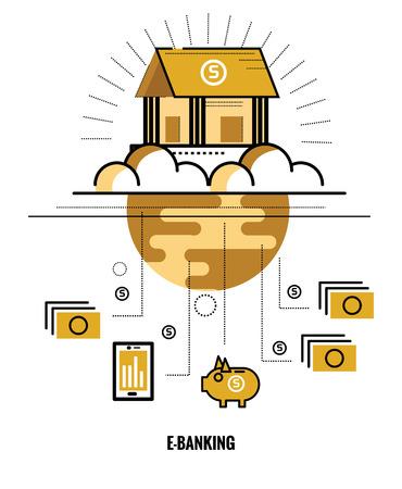 world wide: Online banking. World wide Connect. flat thin line design elements. vector illustration
