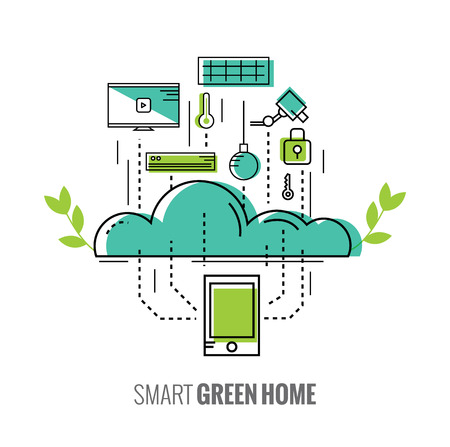 air to air: Smart phone control the home. Saving Energy. Smart green home concept. Illustration
