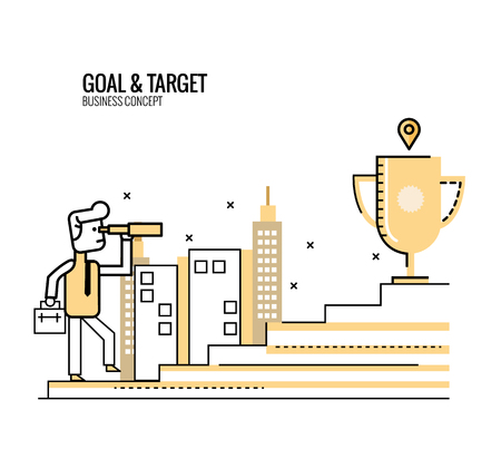 goal setting: Businessman holding telescope on the stair. finding and setting business goal. opportunity and competition concept.  flat thin line design elements. vector illustration