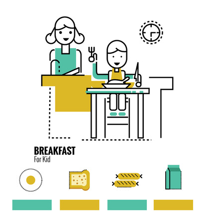 dinning table: kid boy eating healthy food at home. flat design icons, infographic, banner. Illustration