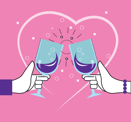 toasting wine: Two people toasting with wine glasses. Heart line in the Background.