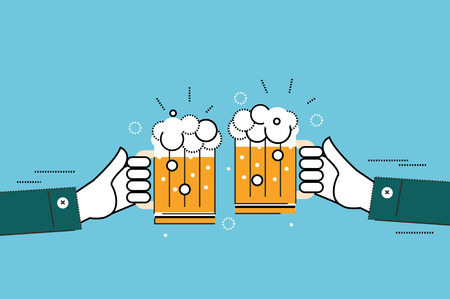 grasp: Two businessmen toasting glasses of beer. Business successful and partnership concept.