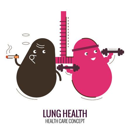 prohibido fumar: Los pulmones de una persona sana y fumador. Peligro de fumar. Carácter delgada línea de diseño plano. ilustración vectorial