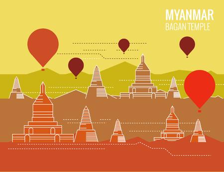 熱気球とバガンの寺院。ミャンマーの目的地のシーン。細い線のフラット デザイン。ベクトル図