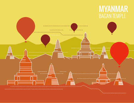 stupa: Bagan Temple with hot air balloon. destination scene of Myanmar. thin line flat design. vector illustration