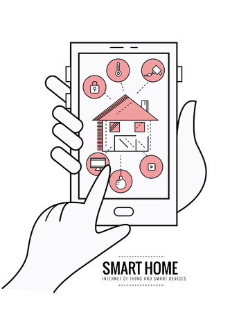 centralized: smart home technology system with centralized control of lighting, heating, ventilation and air conditioning, security and video surveillance.  thin line flat design. vector illustration